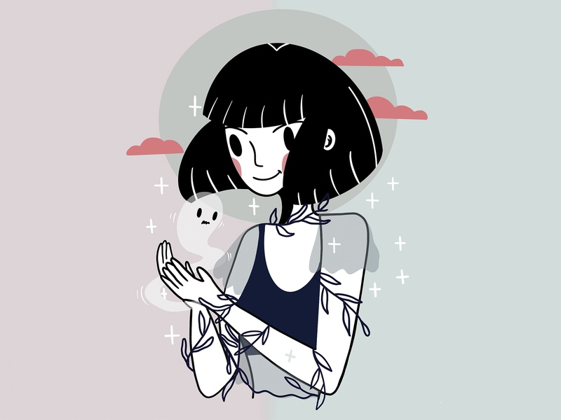Girl with a ghost lines mystyle cleandesign smiledesign linestyle inspiration challenge drawing design art ui design design style procreate face clean minimal illustration character girl ghost