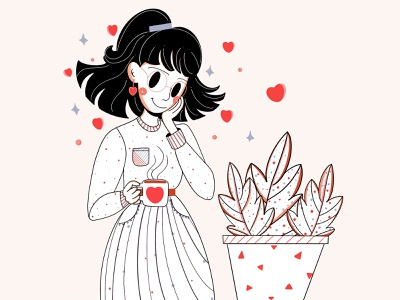 Flowers minimalist loose lines linestyle smile hearts plants minimalistic clean design style ui design character design woman design colors face clean minimal illustration character