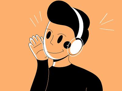 Man Listening  to Music  🎧  🎤 happy simple fresh design procreate listening relax style ui design character design design colors clean minimal illustration character music loose headphones orange fresh