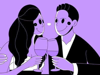 Young couple on a date at the restaurant simple dinner restaurant relax loose cute graphic design romantic date good ui clean minimal design fresh design branding app design app illustration character