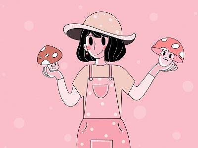 Mushrooms 🍄 cute style good branding design graphic design simple mushrooms relax fresh design character design loose lines app design app branding design clean illustration minimal character