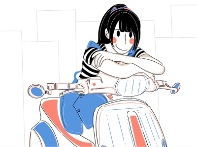 Scooter building ride relax simple app design app graphic design fresh design loose style lines ui design branding character design design clean minimal illustration character scooter