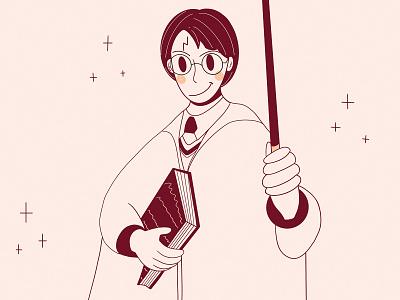 Harry Potter book original app design app glasses witchcraft wand simple graphic design fresh design loose lines style ui design character design design minimal illustration character