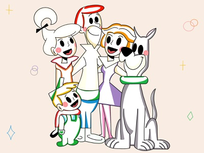Jetsons design history family happy smile lines original simple graphic design fresh design loose people colors clean ui design branding character design minimal illustration character