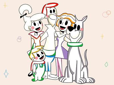 Jetsons design history family happy smile lines original simple graphic design fresh design loose people colors clean ui design branding character design minimal illustration character