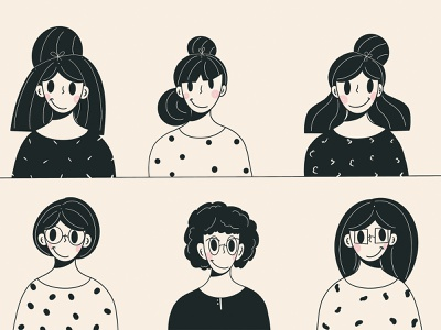 Hairstyles ✂️ app design original fresh design fresh smile graphic design branding people clean design ui design character design minimal illustration character lines loose simple hair hairstyles