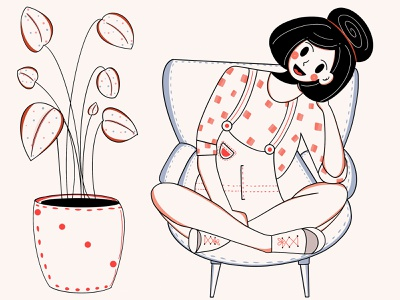 Love for flowers ❣️🌼❤️ style graphic design fochacz love flowers smile simple lines loose fresh design original app design branding ui design character design design clean minimal illustration character