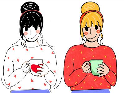 Minimal or more Colors ? cup coffee fochacz style app design graphic design lines loose simple original fresh design colors branding ui design character design design clean minimal illustration character