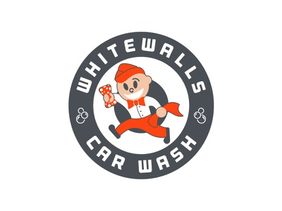 Wally Whitewalls Logo Wip 50s style wip logo car wash illustration