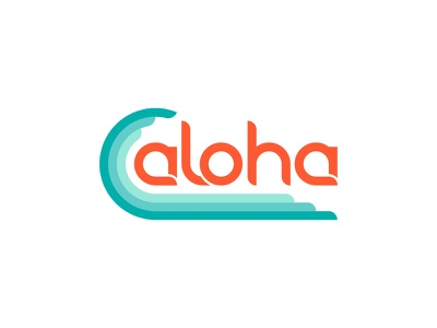 Aloha 1970s throw back custom type thick lines hawaii