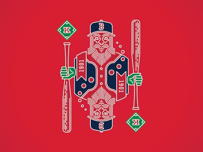 King Of Diamonds illustration wicked green monstah fenway king of diamonds redsox boston