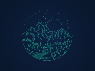 Moon Over Grandjean | Idaho Sawtooths grandjean sawtooth mountains idaho illustration