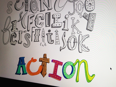 Action - hand drawn type