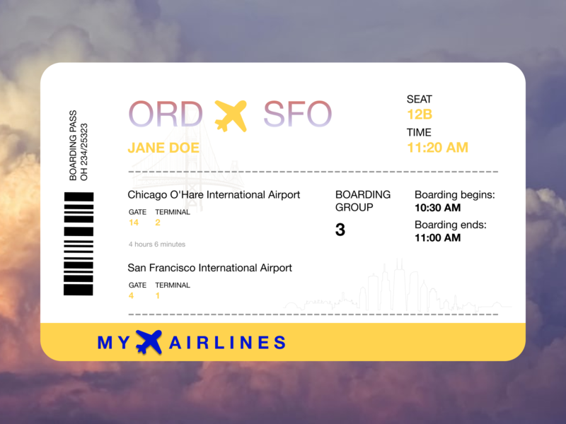 Daily UI 024 | Boarding ticket boarding pass 024 daily ui daily 100 challenge design
