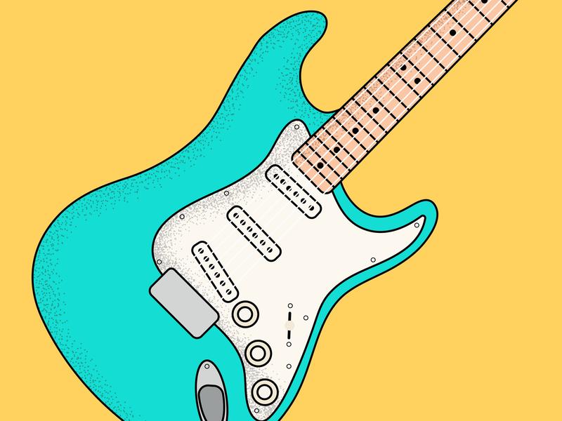 Fender Strat stratocaster geetar strat fender axes axe guitar branding conceptual art stipple shading illustration vector