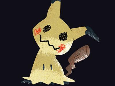 Mimikyu mimikyu pikachu fairy ghost pokemon black love conceptual stipple art shading illustration vector