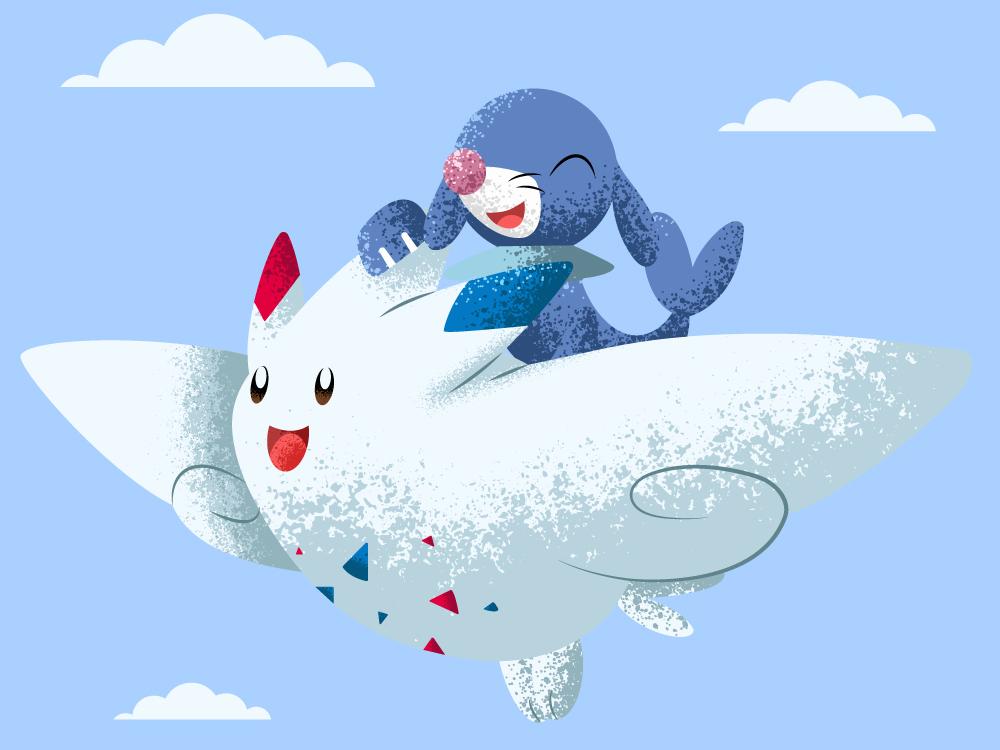Fly togepi pokemon go popplio fairy flying cute togekiss pokemon love conceptual stipple art shading illustration vector