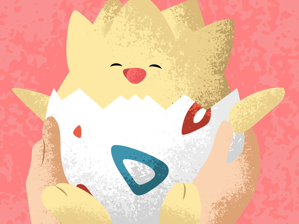 Togepi Baby newborn egg cute togepi baby red pokemon love conceptual stipple art shading illustration vector