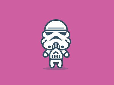 A Storm Trooper storm trooper cartoon vector flat illustrator adobe pink storm trooper blue ion