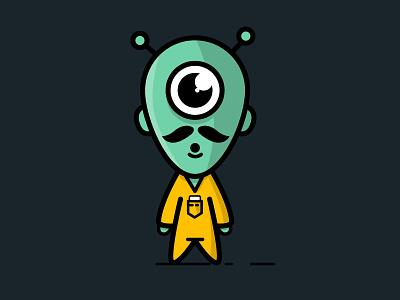 An Alien green adobe blue ion illustrator flat illustration lines alien