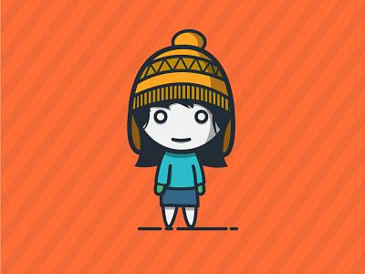 A Girl girl vector adobe blue ion illustrator flat illustration