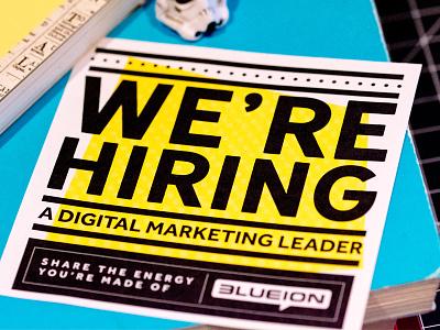 Were Hiring!! macro vector blue ion yellow hiring