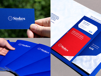 Stokes Economics - presentation pack presentation pack red blue pms custom bespoke folder topography pattern logo design