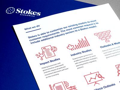 Stokes Economics - sell sheets presentation pack red blue pms custom bespoke folder stroke line icons logo design
