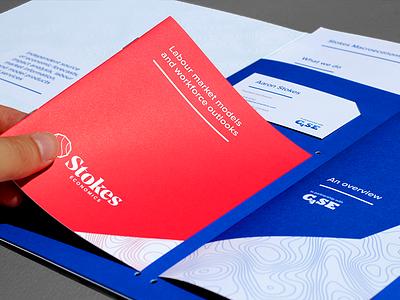 Stokes Economics - boolet, leaflet, cards and sheets red blue pms custom bespoke folder business cards leaflet booklet wordmark logo design