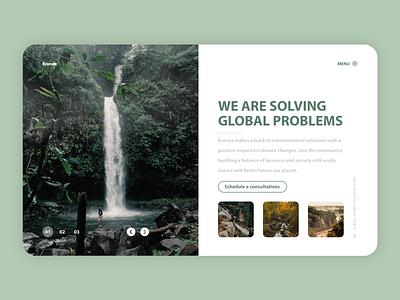 Econex waterfall nature uxdesign website web uxui flat ux ui design minimal