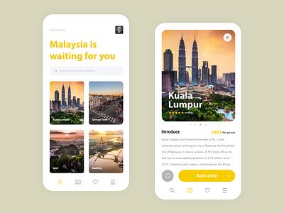 Adventure Mobile nature travel application uxdesign app web uxui flat ux ui design minimal