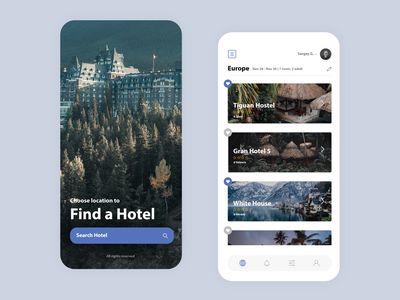 Booking app #2 trip house hostel hotel booking traveling travel nature application app web uxui flat ux ui design minimal