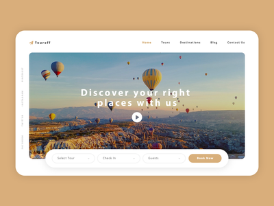 Touroff booking plane fly uxdesign website web uxui flat ux ui design minimal