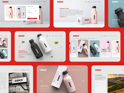Ones website #2 website design milk water juice web website ux ui fresh flat logotype brand minimal logo design branding