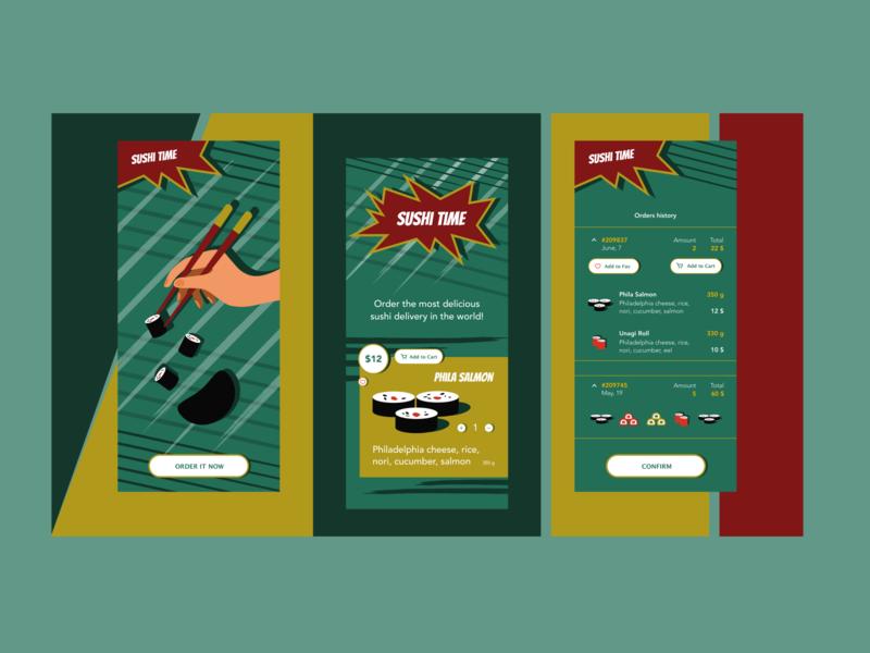 Sushi Time Delivery art illustrator branding app vector ui design illustration