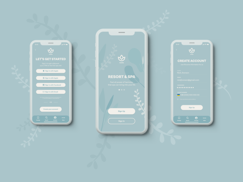 Restie App application design logo branding mobile app typography ux ui