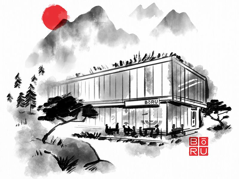 BōRU ramen ink kc kansas city japanese branding restaurant illustration
