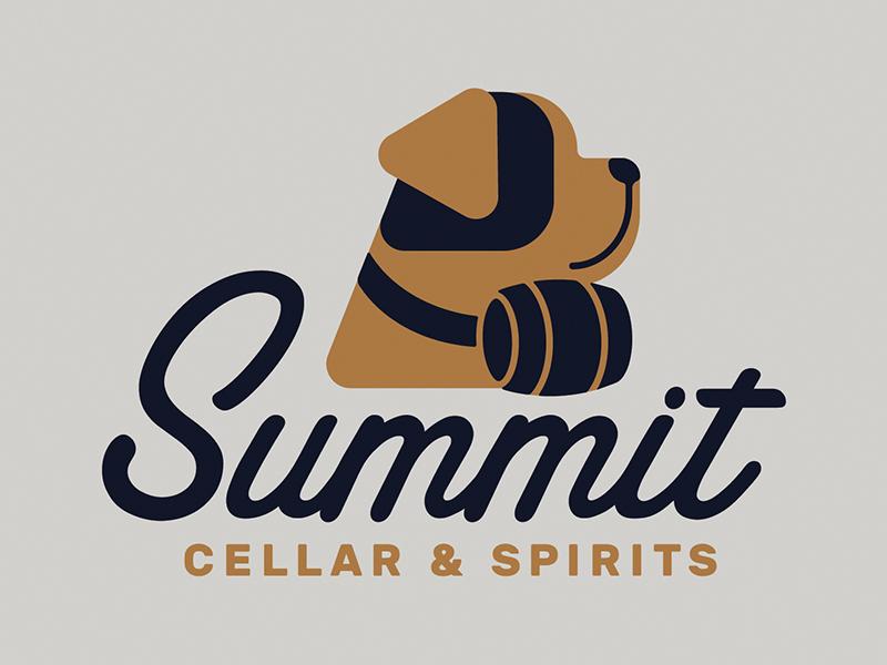 Summit Cellar & Spirits barrel summit design illustration st bernard branding liqueur logo dog