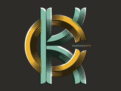 KC monogram  lettering vector monogram type kansas city