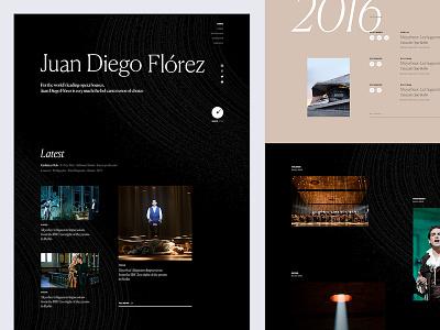 Juan Diego Flórez singer opera music black layout fancy art direction ux ui