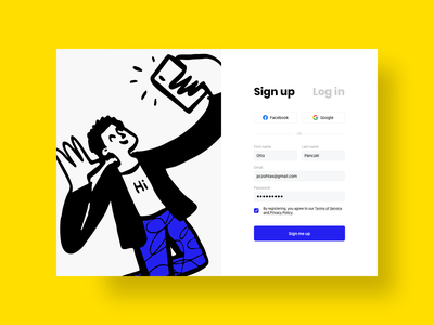 Sign up daily pczohtas doodle webdesign website challenge uidesign log in sign up authentication dailyui