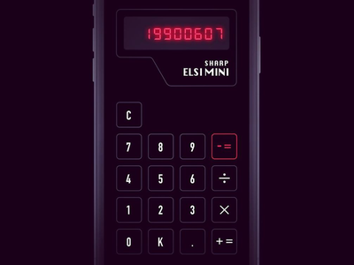 Retro Calculator App 80s app digital pczohtas daily ui 004 daily ui challenge dailyui darkui dark retro ios sharp sharp elsi mini calculator ui calculator