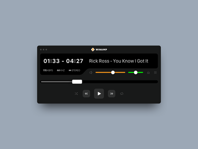 Winamp 2020 retro 90s minimal daily challange hiphop pczohtas uiux design music dark ui spotify winamp music player music app dailui daily ui 009