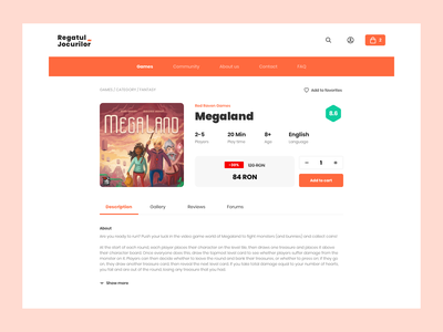 eShop Redesign redesign shop e shop estore ecommerce game game store regatul jocurilor red raven games megaland online store store app webshop website daily ui 012 design pczohtas