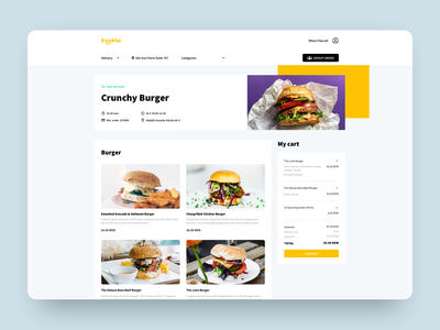 Kookta delivery delivery burgers checkout cart detail view venue web design pczohtas food ordering ordering kookta delivery ux  ui product design delivery service food and drink catering food app delivery app