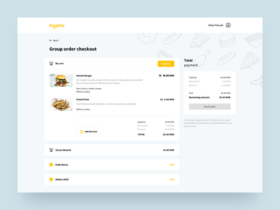 Food delivery - checkout pczohtas kookta delivery uxui delivery website payment food delivery service delivery app product design food ordering group order checkout food delivery food app delivery
