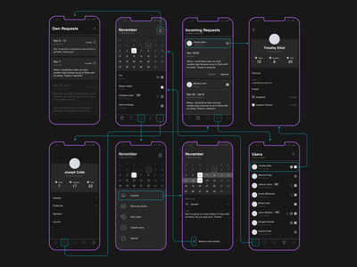 Dark wireframe calendar time management planner requests vacation user flow design minimal ios pczohtas uidesign uxdesign uxui dark mode dark ui wireframe