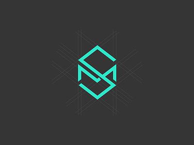 SM logo edgy flat initial monogram grid minimal pczohtas logo sm