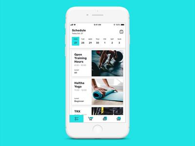 Fitness iOS App (class booking) gym app booking principle animation fitness app pczohtas halcyonmobile minimal user experience ui app ios