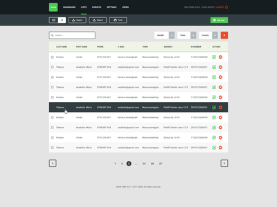 CRM web application design table list web ux ui interface contacts app